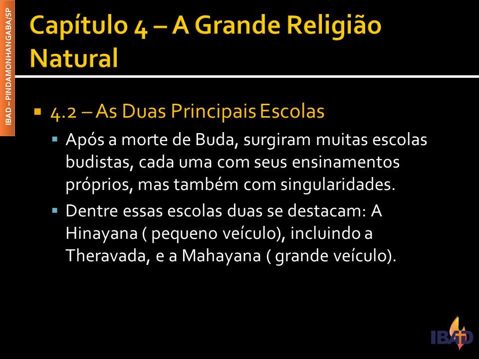IBAD – PINDAMONHANGABA/SP  4.2 – As Duas Principais Escolas  Após a morte de Buda, surgiram muitas escolas budistas, cada uma com seus ensinamentos