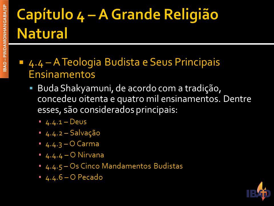 IBAD – PINDAMONHANGABA/SP  4.4 – A Teologia Budista e Seus Principais Ensinamentos  Buda Shakyamuni, de acordo com a tradição, concedeu oitenta e qu