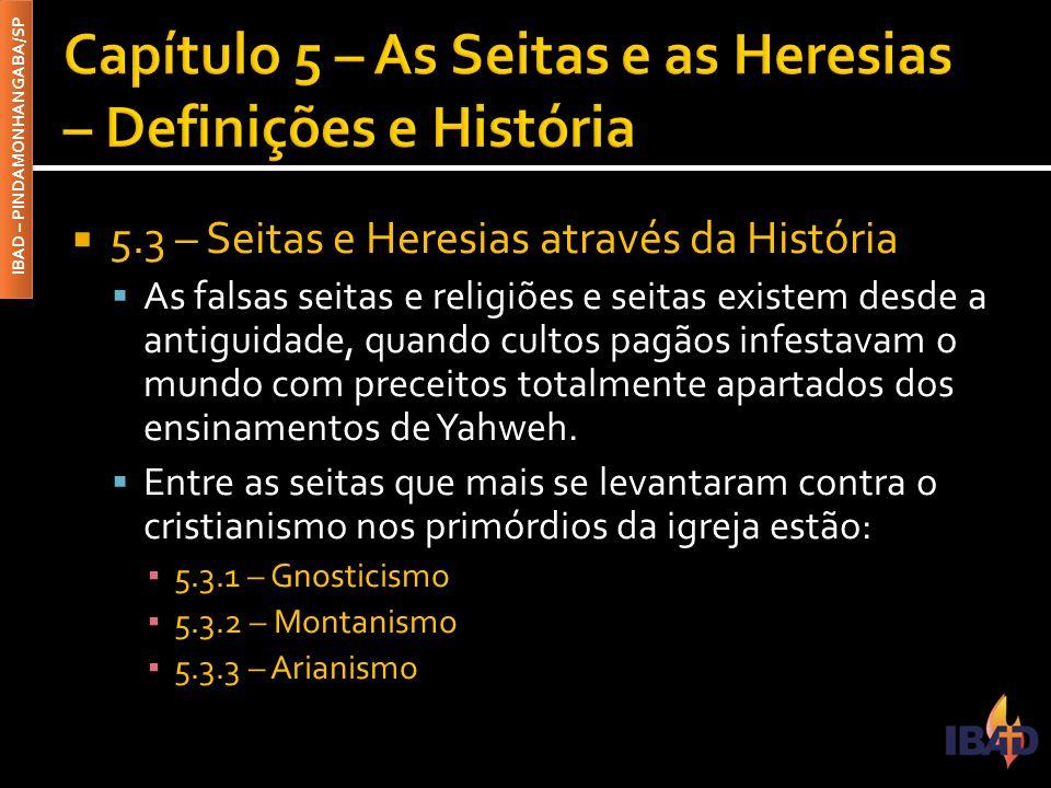 IBAD – PINDAMONHANGABA/SP  5.3 – Seitas e Heresias através da História  As falsas seitas e religiões e seitas existem desde a antiguidade, quando cu