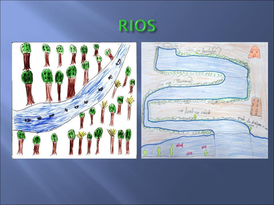 O que sabemos?  Rios são cursos de água que correm naturalmente de uma área mais alta para uma mais baixa do relevo, geralmente deságuam em outro rio
