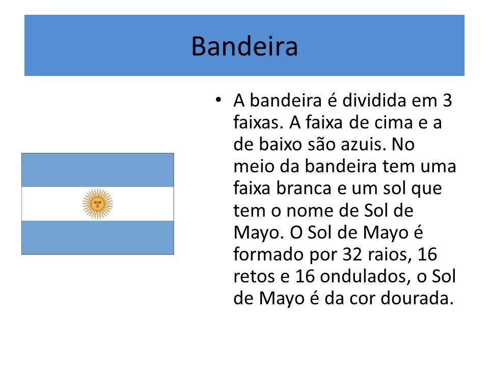 Bandeira A bandeira é dividida em 3 faixas. A faixa de cima e a de baixo são azuis. No meio da bandeira tem uma faixa branca e um sol que tem o nome d