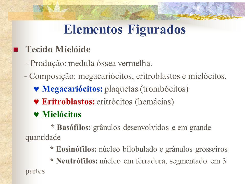 Tecido Mielóide - Produção: medula óssea vermelha. - Composição: megacariócitos, eritroblastos e mielócitos. Megacariócitos: plaquetas (trombócitos) E