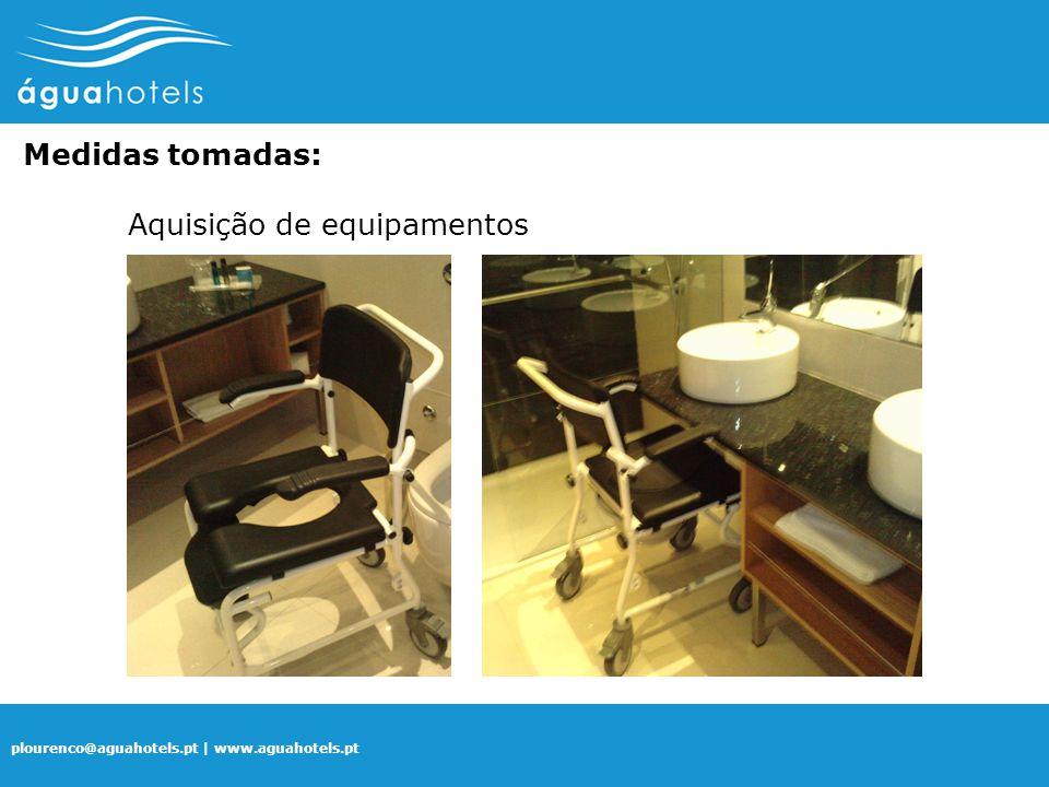 plourenco@aguahotels.pt | www.aguahotels.pt Medidas tomadas: Aquisição de equipamentos