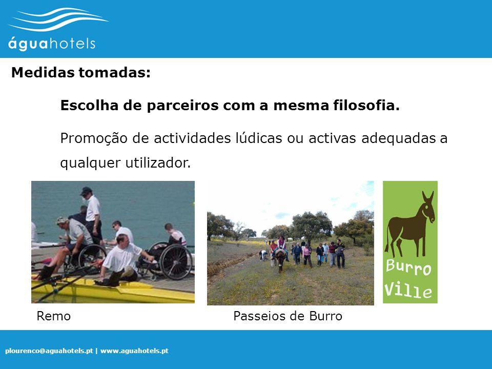 plourenco@aguahotels.pt | www.aguahotels.pt Medidas tomadas: Escolha de parceiros com a mesma filosofia. Promoção de actividades lúdicas ou activas ad