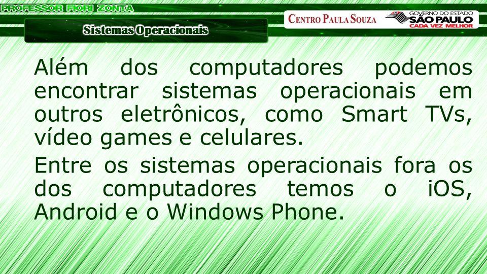 MacOS ◦Lion OS (10.7.5) ◦Mountain Lion OS (10.8) ◦Mavericks OS (10.9.4) ◦Yosemite (10.10) Sistemas Operacionais Modernos Linux ◦Ubuntu ◦OpenSUSE ◦Mandriva Windows ◦Windows 7 ◦Windows 8