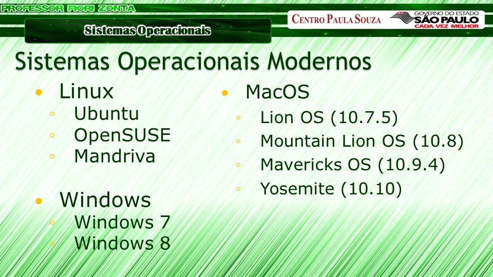 MacOS ◦Lion OS (10.7.5) ◦Mountain Lion OS (10.8) ◦Mavericks OS (10.9.4) ◦Yosemite (10.10) Sistemas Operacionais Modernos Linux ◦Ubuntu ◦OpenSUSE ◦Mand