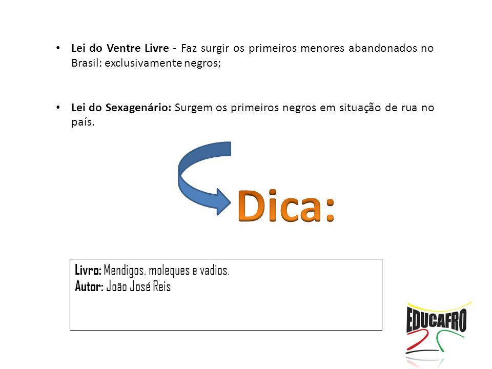 Livro: Mendigos, moleques e vadios. Autor: João José Reis Lei do Ventre Livre - Faz surgir os primeiros menores abandonados no Brasil: exclusivamente