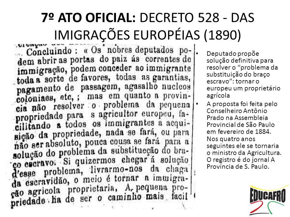 """Deputado propõe solução definitiva para resolver o """"problema da substituição do braço escravo"""": tornar o europeu um proprietário agrícola A proposta f"""