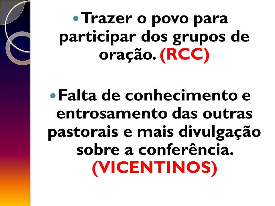 Trazer o povo para participar dos grupos de oração.