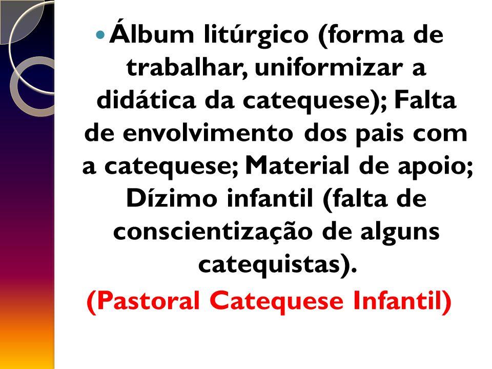 Álbum litúrgico (forma de trabalhar, uniformizar a didática da catequese); Falta de envolvimento dos pais com a catequese; Material de apoio; Dízimo infantil (falta de conscientização de alguns catequistas).