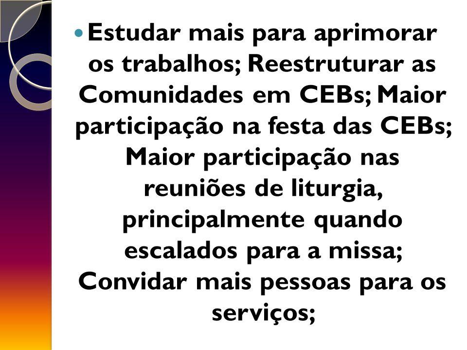 Estudar mais para aprimorar os trabalhos; Reestruturar as Comunidades em CEBs; Maior participação na festa das CEBs; Maior participação nas reuniões de liturgia, principalmente quando escalados para a missa; Convidar mais pessoas para os serviços;