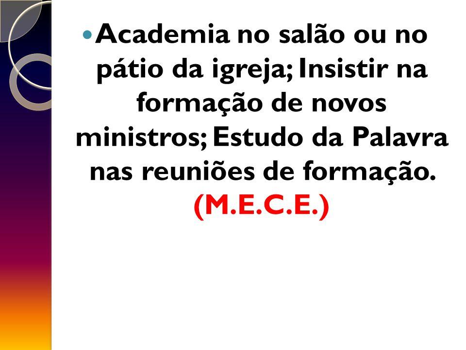 Academia no salão ou no pátio da igreja; Insistir na formação de novos ministros; Estudo da Palavra nas reuniões de formação.