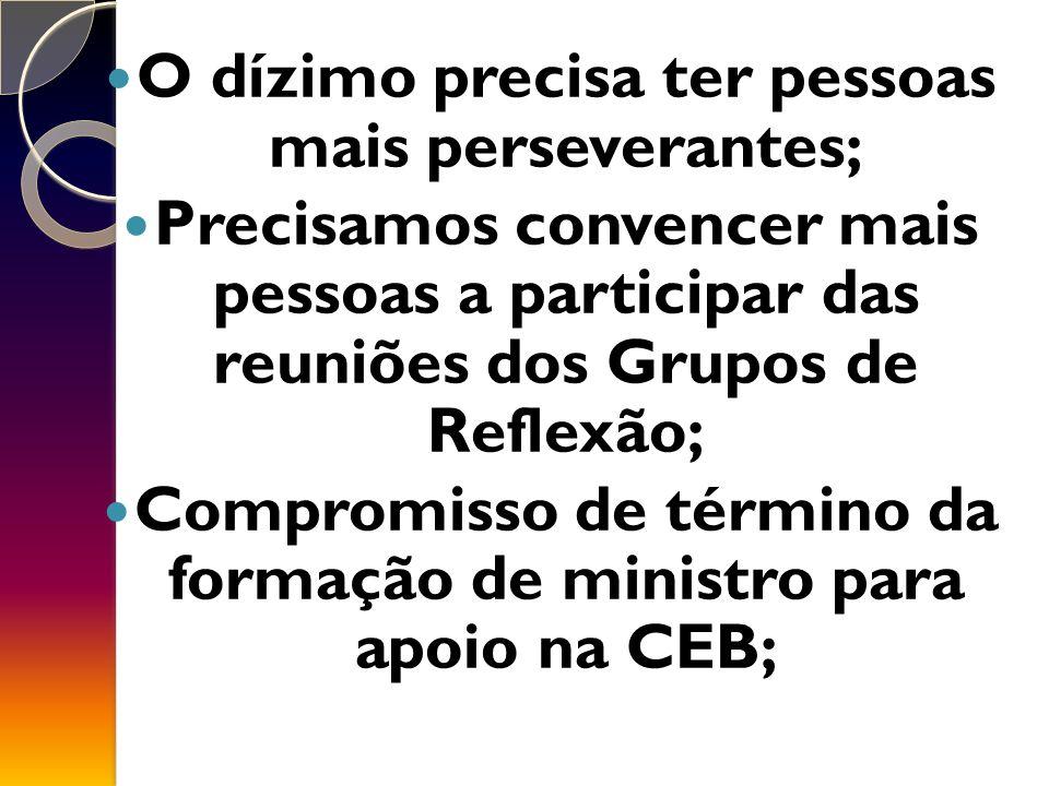O dízimo precisa ter pessoas mais perseverantes; Precisamos convencer mais pessoas a participar das reuniões dos Grupos de Reflexão; Compromisso de término da formação de ministro para apoio na CEB;