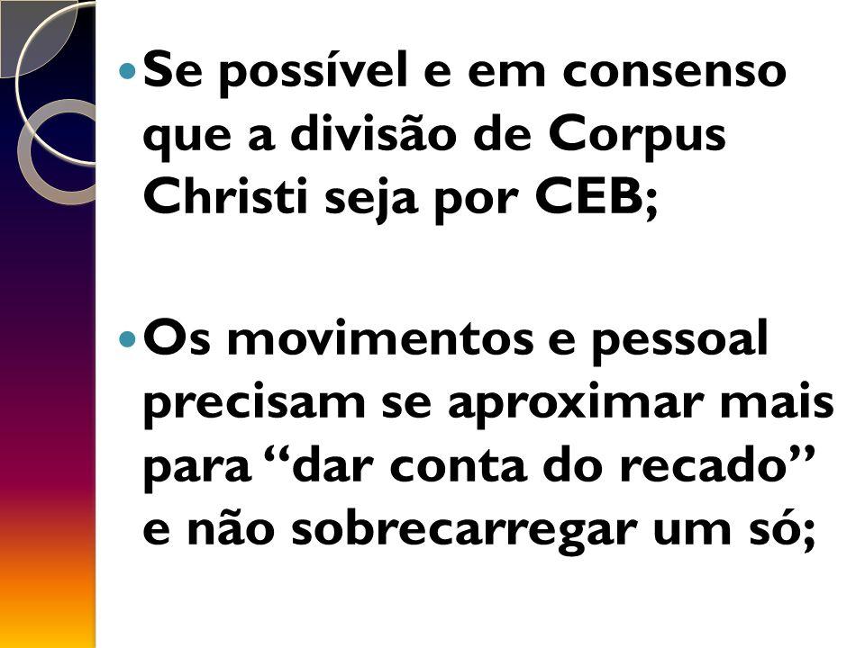 Se possível e em consenso que a divisão de Corpus Christi seja por CEB; Os movimentos e pessoal precisam se aproximar mais para dar conta do recado e não sobrecarregar um só;
