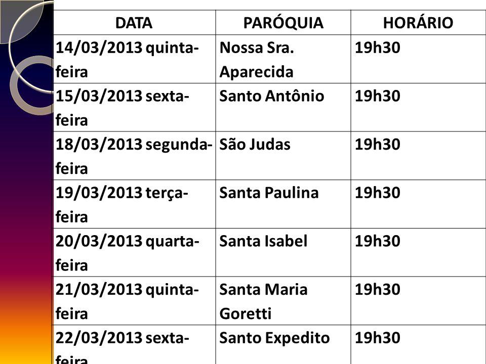 DATAPARÓQUIAHORÁRIO 14/03/2013 quinta- feira Nossa Sra.