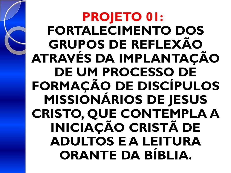 PROJETO 01: FORTALECIMENTO DOS GRUPOS DE REFLEXÃO ATRAVÉS DA IMPLANTAÇÃO DE UM PROCESSO DE FORMAÇÃO DE DISCÍPULOS MISSIONÁRIOS DE JESUS CRISTO, QUE CONTEMPLA A INICIAÇÃO CRISTÃ DE ADULTOS E A LEITURA ORANTE DA BÍBLIA.