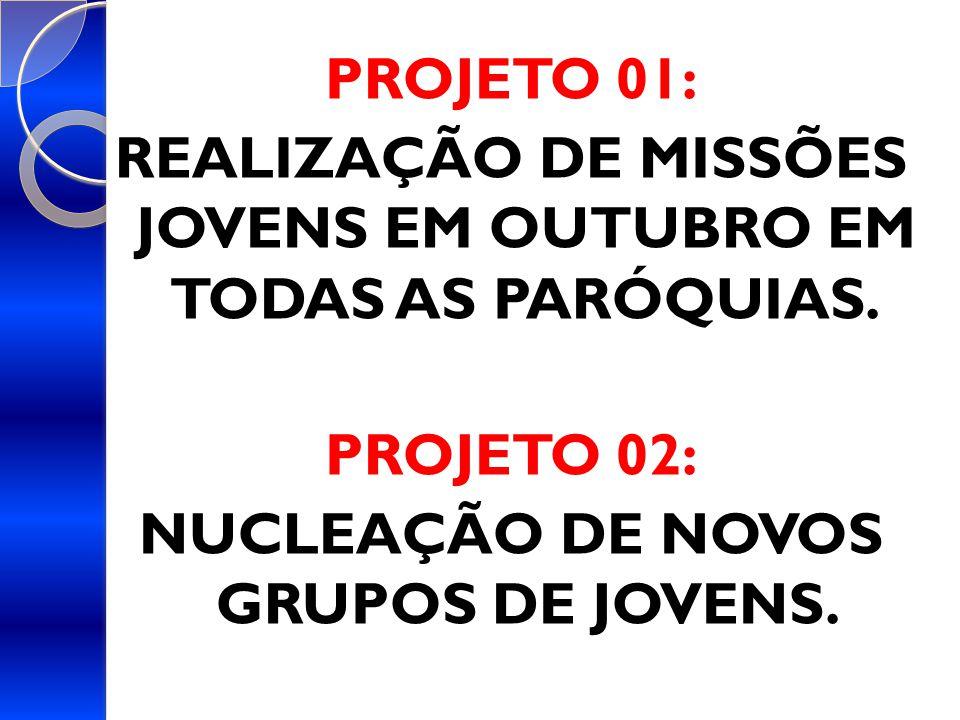 PROJETO 01: REALIZAÇÃO DE MISSÕES JOVENS EM OUTUBRO EM TODAS AS PARÓQUIAS.
