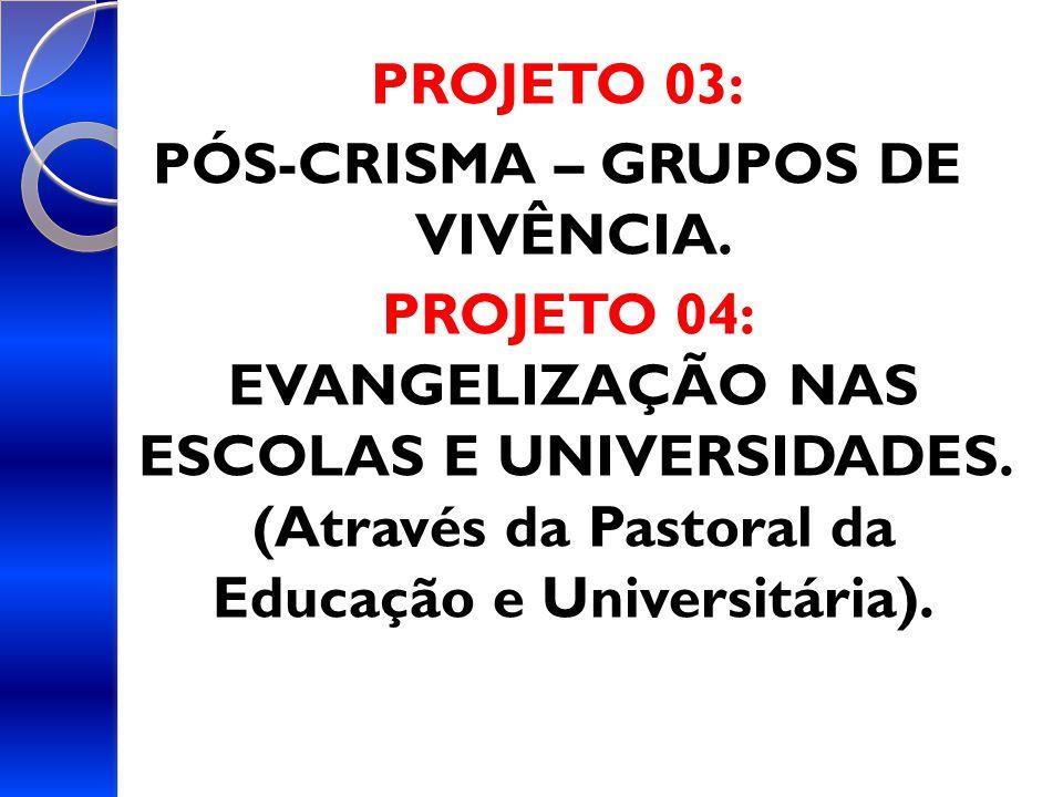 PROJETO 03: PÓS-CRISMA – GRUPOS DE VIVÊNCIA.PROJETO 04: EVANGELIZAÇÃO NAS ESCOLAS E UNIVERSIDADES.