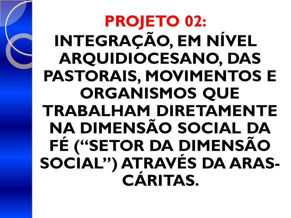 PROJETO 02: INTEGRAÇÃO, EM NÍVEL ARQUIDIOCESANO, DAS PASTORAIS, MOVIMENTOS E ORGANISMOS QUE TRABALHAM DIRETAMENTE NA DIMENSÃO SOCIAL DA FÉ ( SETOR DA DIMENSÃO SOCIAL ) ATRAVÉS DA ARAS- CÁRITAS.