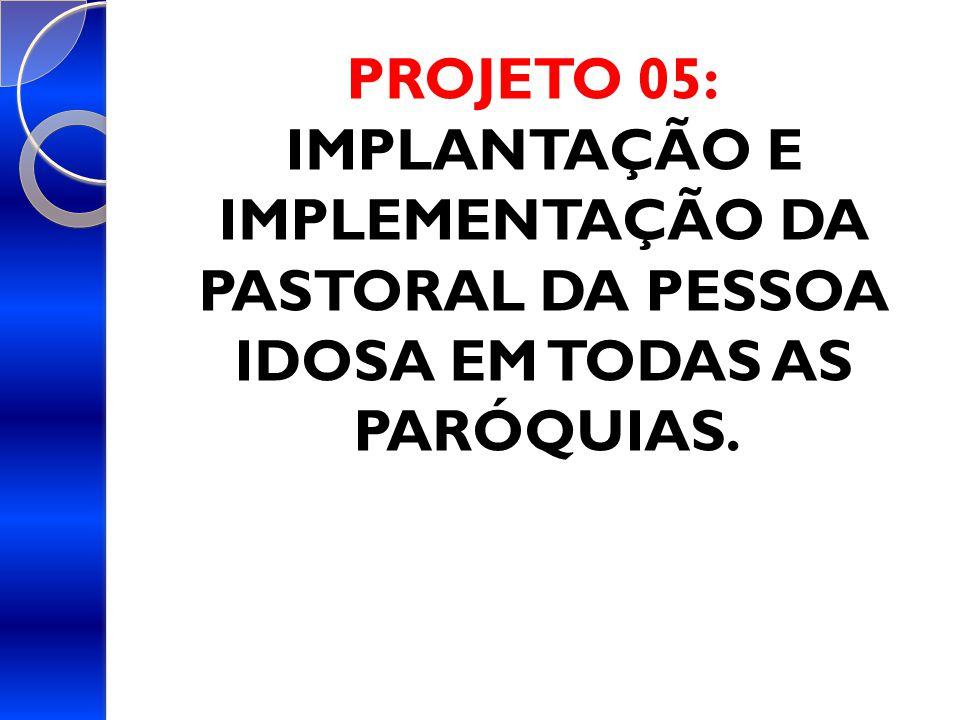 PROJETO 05: IMPLANTAÇÃO E IMPLEMENTAÇÃO DA PASTORAL DA PESSOA IDOSA EM TODAS AS PARÓQUIAS.