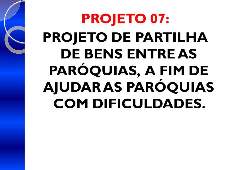 PROJETO 07: PROJETO DE PARTILHA DE BENS ENTRE AS PARÓQUIAS, A FIM DE AJUDAR AS PARÓQUIAS COM DIFICULDADES.