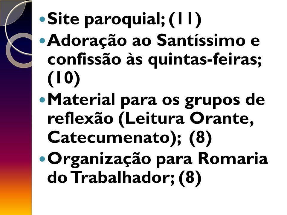 Site paroquial; (11) Adoração ao Santíssimo e confissão às quintas-feiras; (10) Material para os grupos de reflexão (Leitura Orante, Catecumenato); (8) Organização para Romaria do Trabalhador; (8)