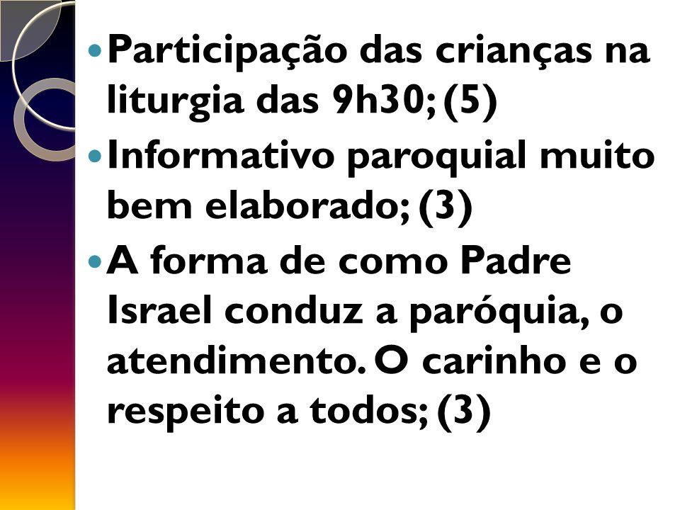 Participação das crianças na liturgia das 9h30; (5) Informativo paroquial muito bem elaborado; (3) A forma de como Padre Israel conduz a paróquia, o atendimento.