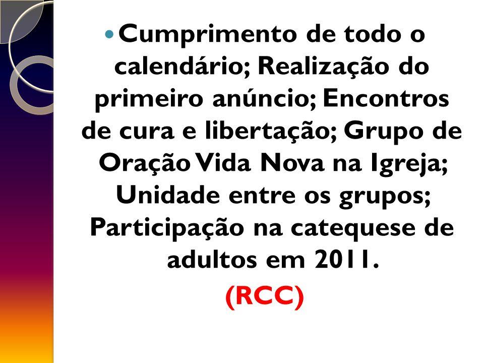 Cumprimento de todo o calendário; Realização do primeiro anúncio; Encontros de cura e libertação; Grupo de Oração Vida Nova na Igreja; Unidade entre os grupos; Participação na catequese de adultos em 2011.