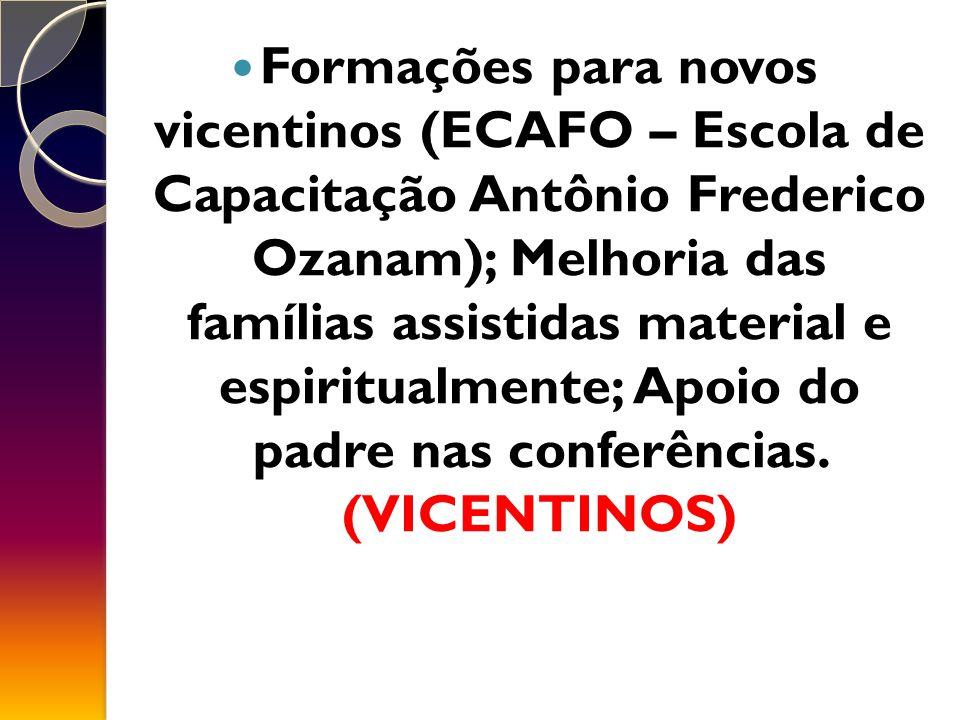Formações para novos vicentinos (ECAFO – Escola de Capacitação Antônio Frederico Ozanam); Melhoria das famílias assistidas material e espiritualmente; Apoio do padre nas conferências.