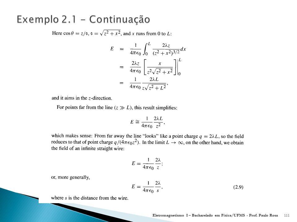 Eletromagnetismo I – Bacharelado em Física/UFMS - Prof. Paulo Rosa111