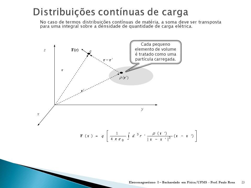 No caso de termos distribuições contínuas de matéria, a soma deve ser transposta para uma integral sobre a densidade de quantidade de carga elétrica.