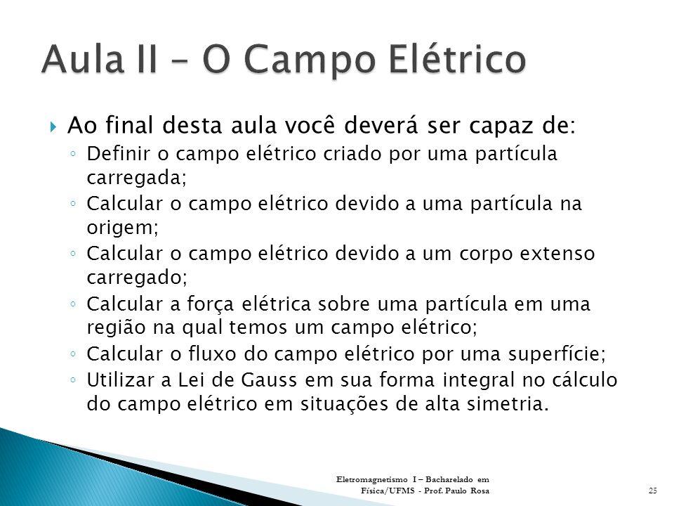  Ao final desta aula você deverá ser capaz de: ◦ Definir o campo elétrico criado por uma partícula carregada; ◦ Calcular o campo elétrico devido a uma partícula na origem; ◦ Calcular o campo elétrico devido a um corpo extenso carregado; ◦ Calcular a força elétrica sobre uma partícula em uma região na qual temos um campo elétrico; ◦ Calcular o fluxo do campo elétrico por uma superfície; ◦ Utilizar a Lei de Gauss em sua forma integral no cálculo do campo elétrico em situações de alta simetria.