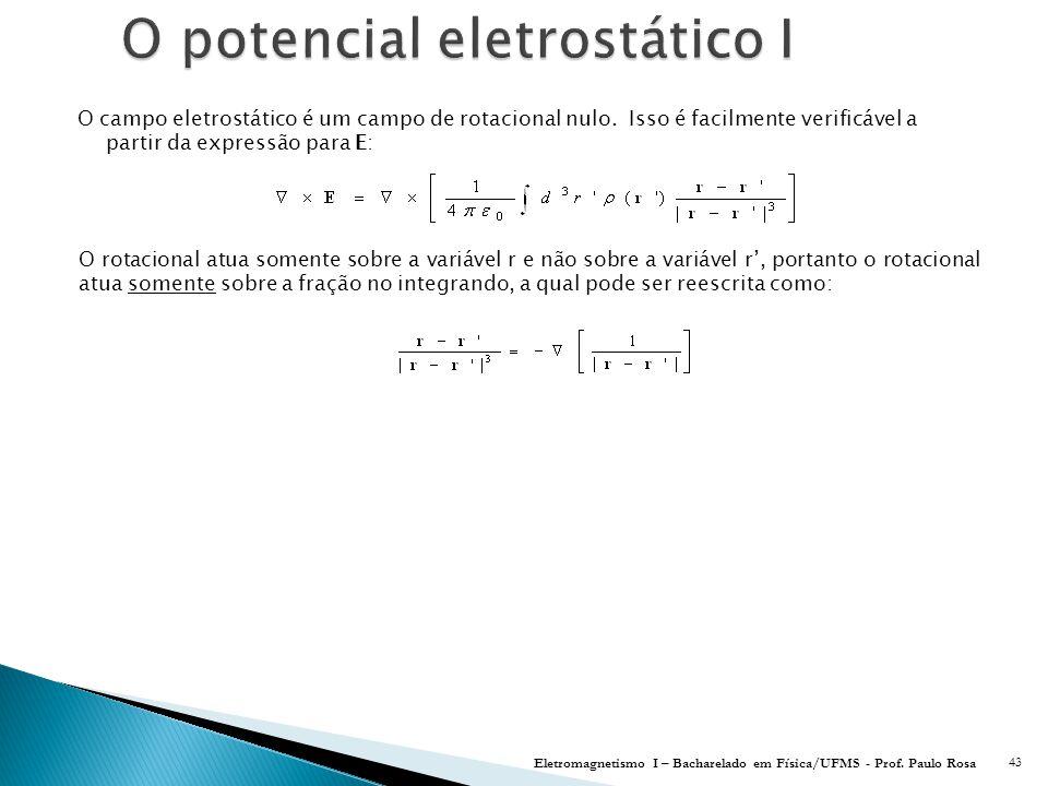 O campo eletrostático é um campo de rotacional nulo.