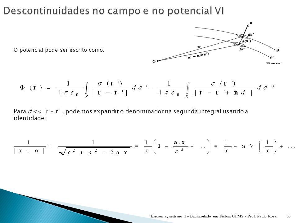 O potencial pode ser escrito como: Eletromagnetismo I – Bacharelado em Física/UFMS - Prof.