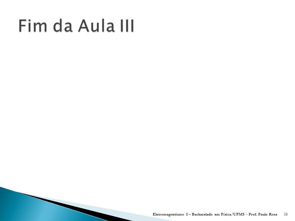 Eletromagnetismo I – Bacharelado em Física/UFMS - Prof. Paulo Rosa58