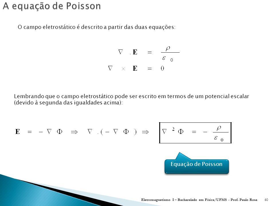 O campo eletrostático é descrito a partir das duas equações: Eletromagnetismo I – Bacharelado em Física/UFMS - Prof.