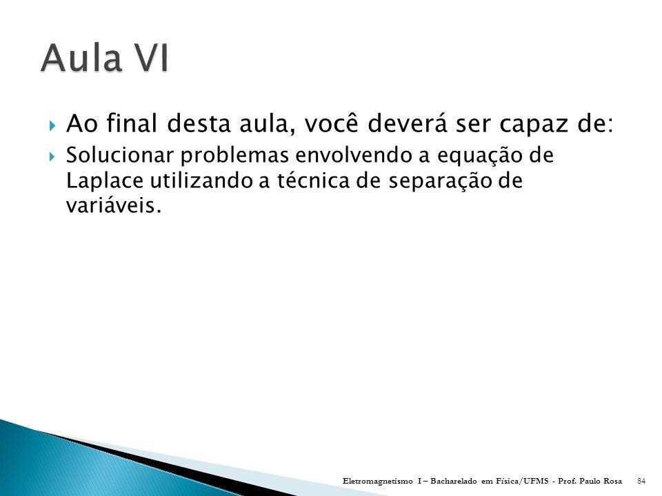  Ao final desta aula, você deverá ser capaz de:  Solucionar problemas envolvendo a equação de Laplace utilizando a técnica de separação de variáveis.