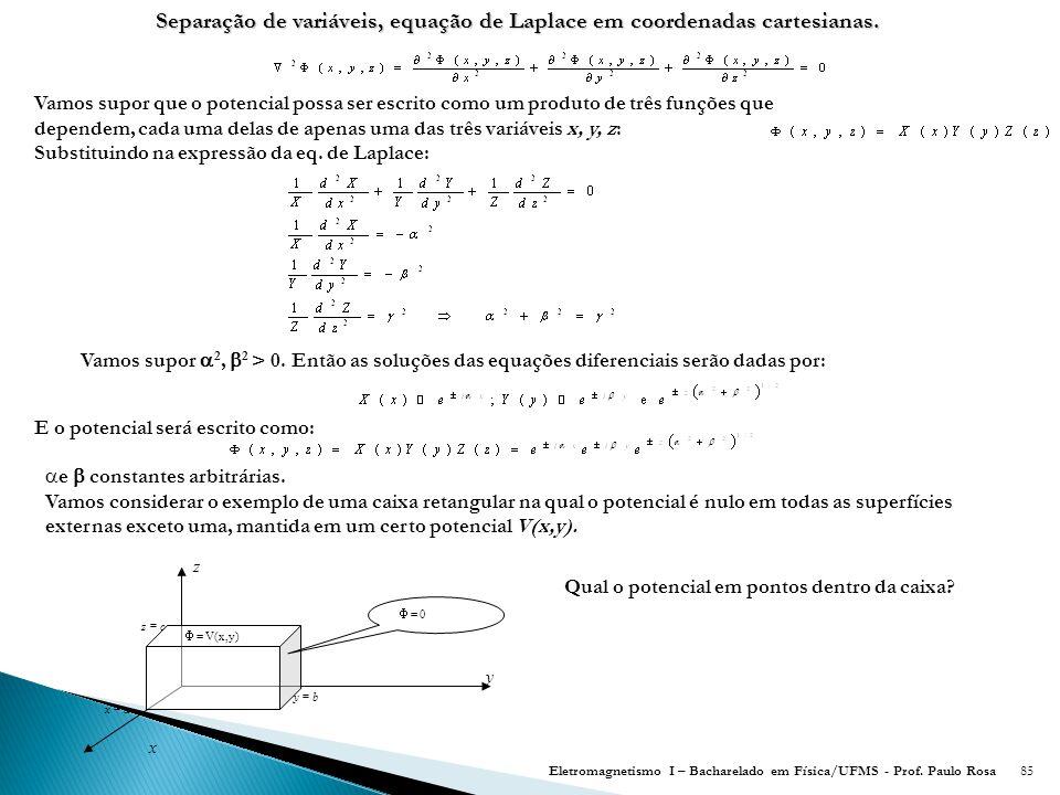 85 Separação de variáveis, equação de Laplace em coordenadas cartesianas.