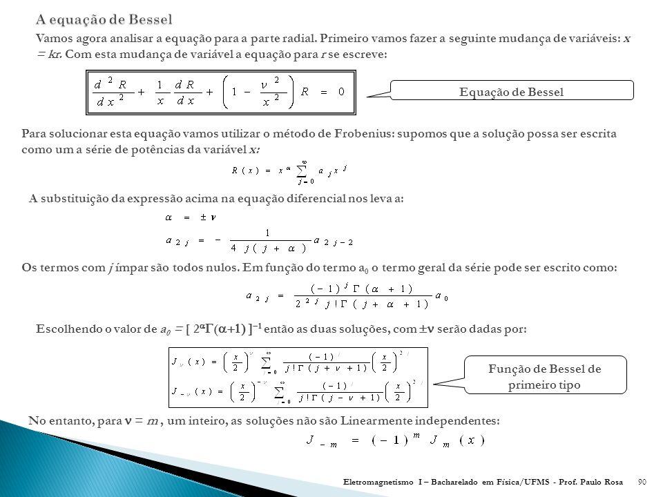 90 Vamos agora analisar a equação para a parte radial.
