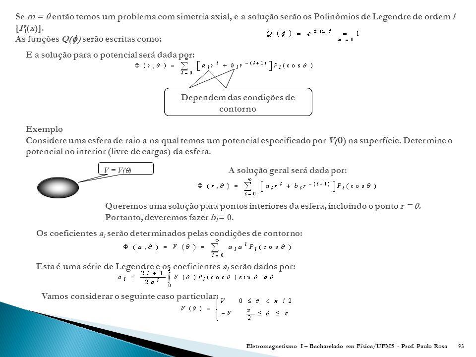 93 Se m = 0 então temos um problema com simetria axial, e a solução serão os Polinômios de Legendre de ordem l [P l (x)].