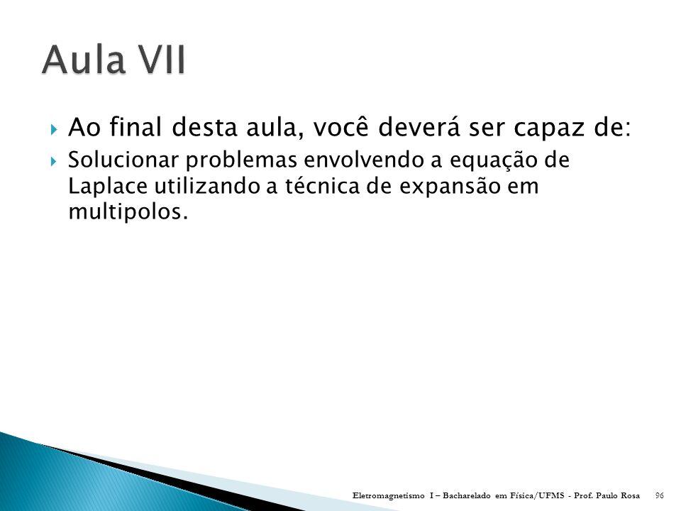  Ao final desta aula, você deverá ser capaz de:  Solucionar problemas envolvendo a equação de Laplace utilizando a técnica de expansão em multipolos.