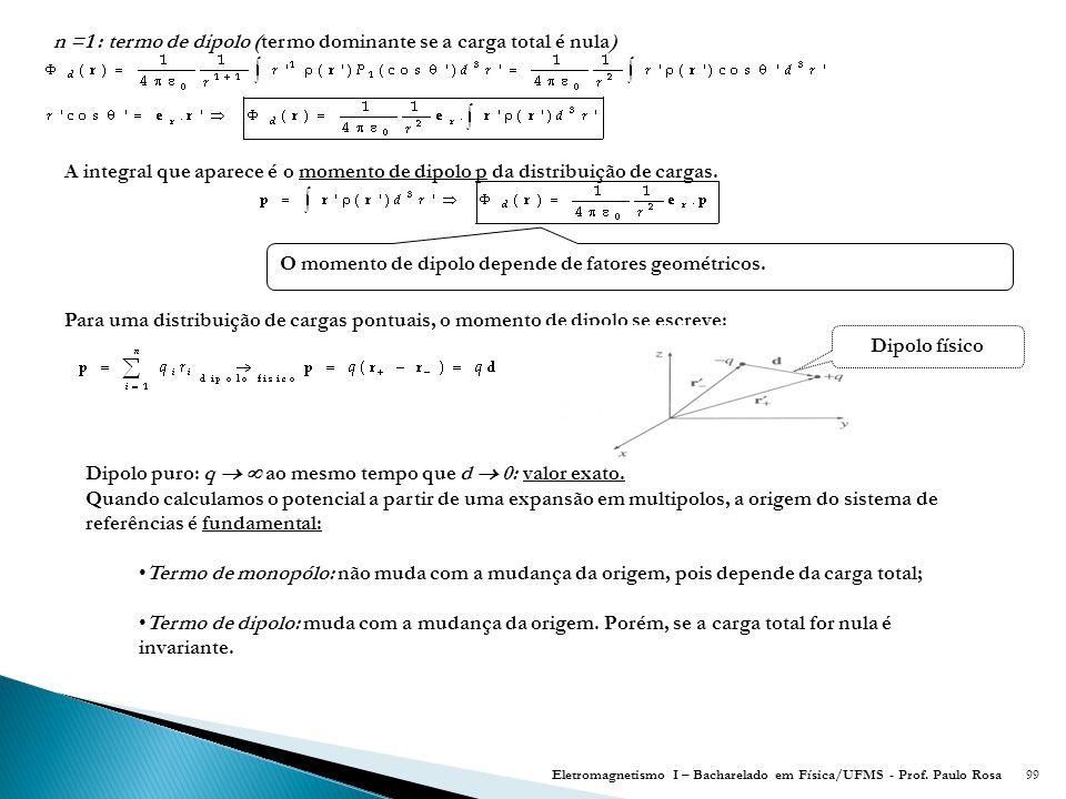 99 n =1 : termo de dipolo (termo dominante se a carga total é nula) A integral que aparece é o momento de dipolo p da distribuição de cargas.