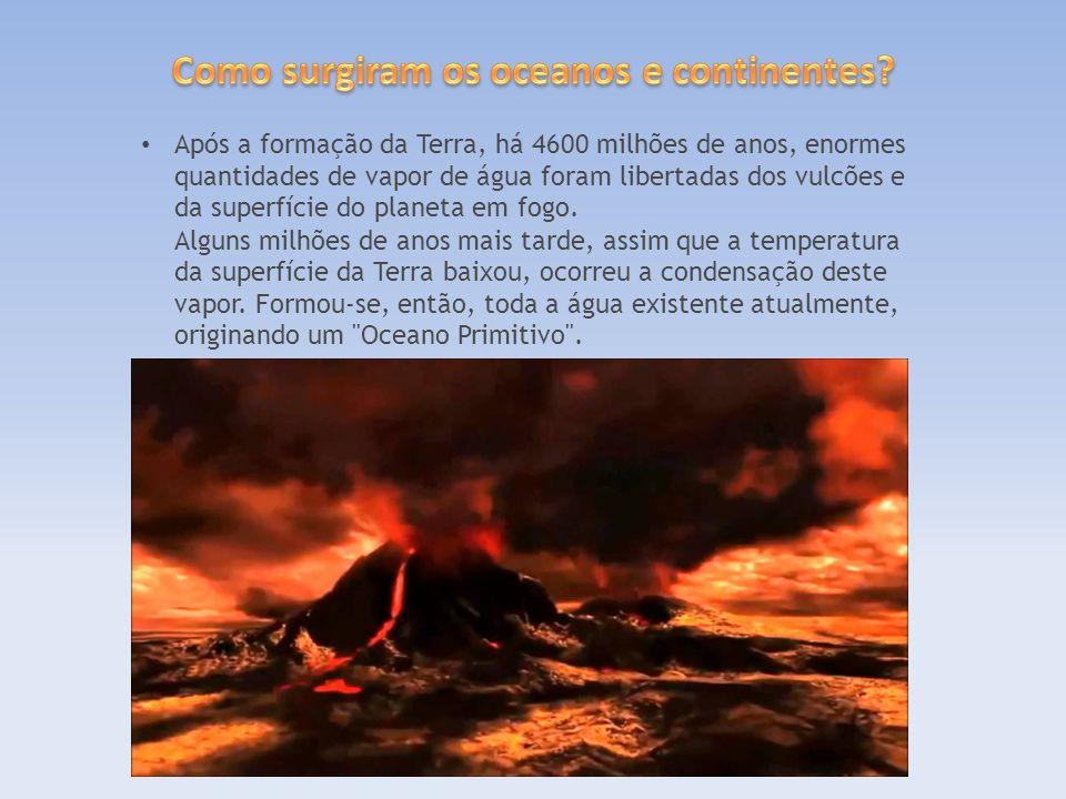 Após a formação da Terra, há 4600 milhões de anos, enormes quantidades de vapor de água foram libertadas dos vulcões e da superfície do planeta em fogo.