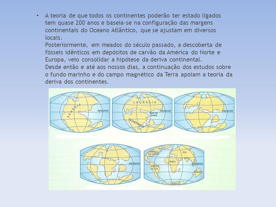 A teoria de que todos os continentes poderão ter estado ligados tem quase 200 anos e baseia-se na configuração das margens continentais do Oceano Atlântico, que se ajustam em diversos locais.