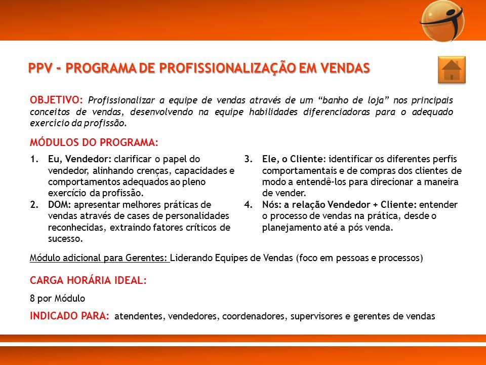 """PPV – PROGRAMA DE PROFISSIONALIZAÇÃO EM VENDAS OBJETIVO: Profissionalizar a equipe de vendas através de um """"banho de loja"""" nos principais conceitos de"""