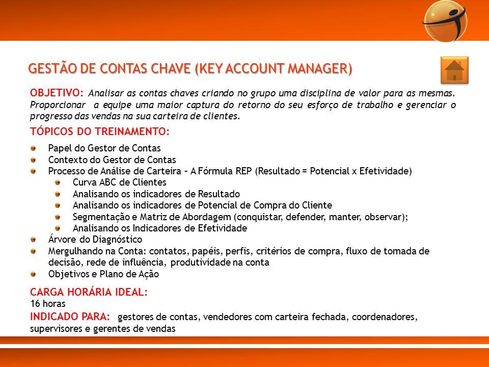 GESTÃO DE CONTAS CHAVE (KEY ACCOUNT MANAGER) OBJETIVO: Analisar as contas chaves criando no grupo uma disciplina de valor para as mesmas. Proporcionar