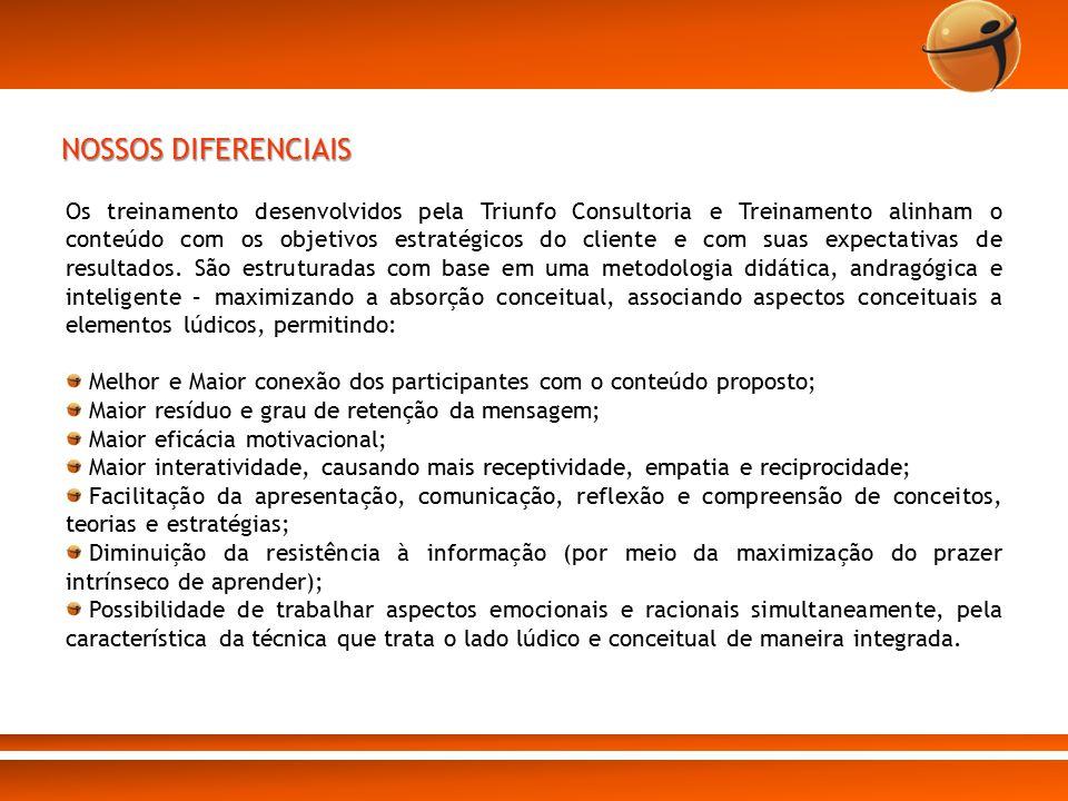 NOSSOS DIFERENCIAIS Os treinamento desenvolvidos pela Triunfo Consultoria e Treinamento alinham o conteúdo com os objetivos estratégicos do cliente e
