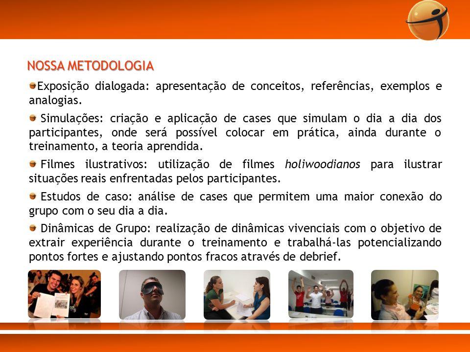 NOSSA METODOLOGIA Exposição dialogada: apresentação de conceitos, referências, exemplos e analogias. Simulações: criação e aplicação de cases que simu