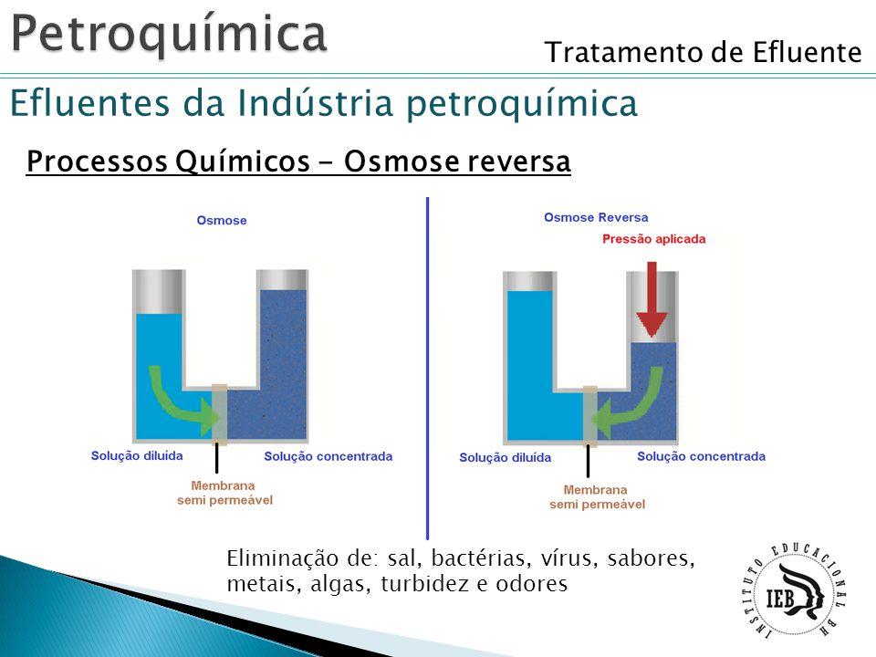 Tratamento de Efluente Efluentes da Indústria petroquímica Processos Químicos - Osmose reversa Eliminação de: sal, bactérias, vírus, sabores, metais,