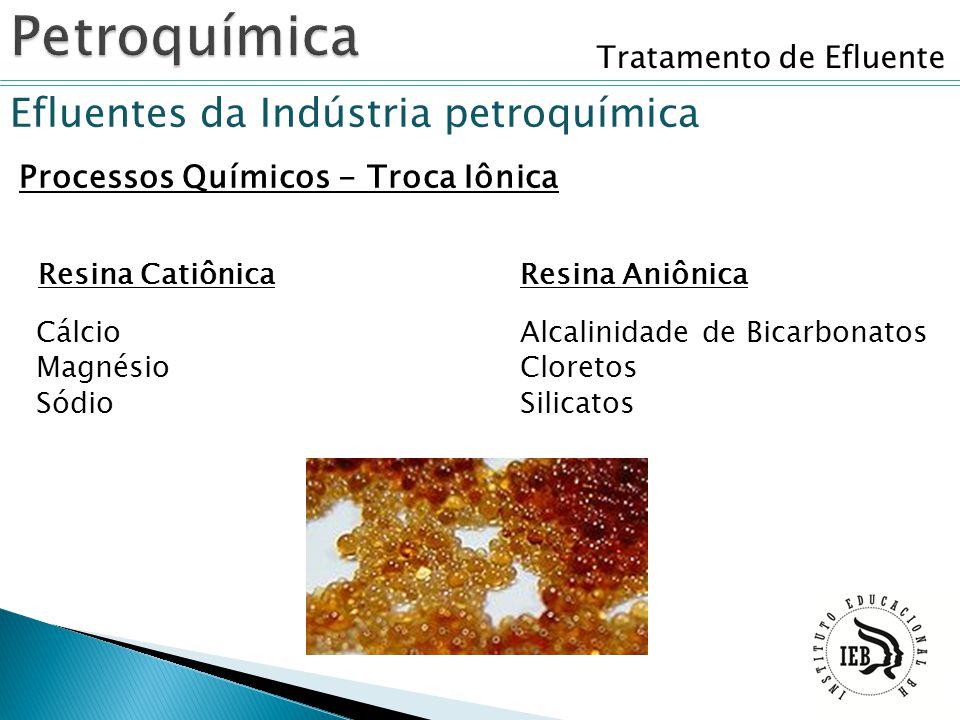 Tratamento de Efluente Efluentes da Indústria petroquímica Processos Químicos - Troca Iônica Resina CatiônicaResina Aniônica Cálcio Magnésio Sódio Alc
